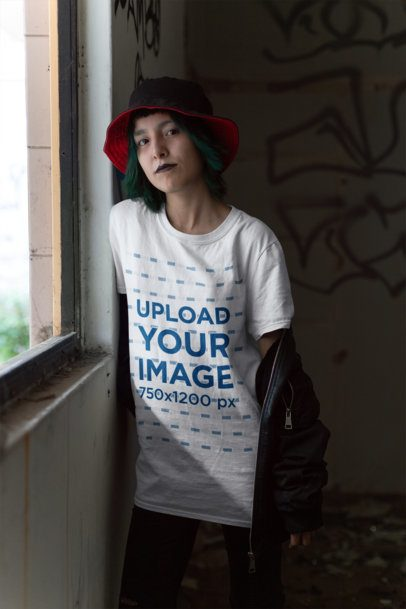 Mockup of a Goth Girl Wearing a T-Shirt Inside a Dark Room 23433