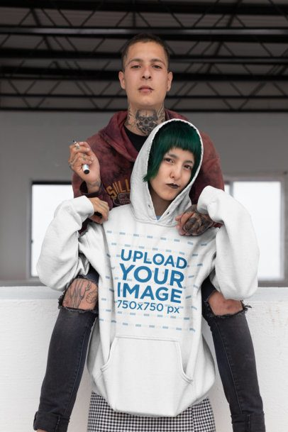 Hoodie Mockup of a Goth Woman with Green Hair Hanging out with Her Boyfriend 23452