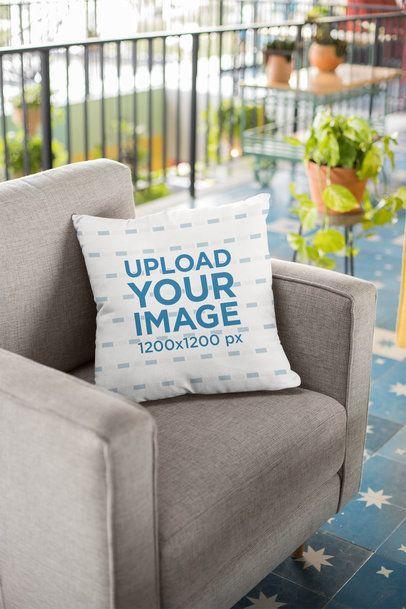 Pillow Mockup on a Fabric Sofa 23554