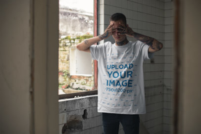 T-Shirt Mockup of a Punk Man Covering His Eyes 23462