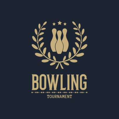 Bowling Logo Maker for a Bowling Tournament with Victory Wreaths Clipart 1589