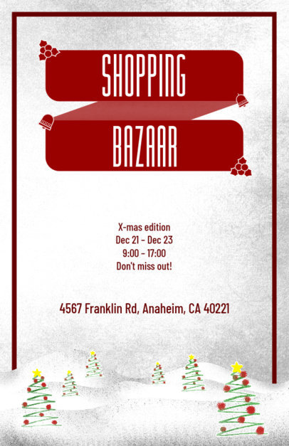 Christmas Bazaar Flyer Generator with Christmas Tree Clipart Images 867a