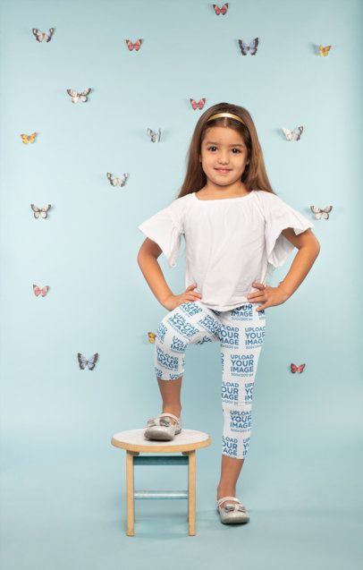 Mockup of a Cute Little Girl Wearing Leggings Surrounded by Butterflies 23908