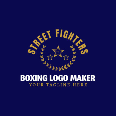 Boxing Logo Maker with Victory Wreaths and Stars Clipart 1584b
