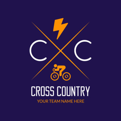 Cross Country Online Logo Generator with Bicycle and Lightning Clipart 1568e