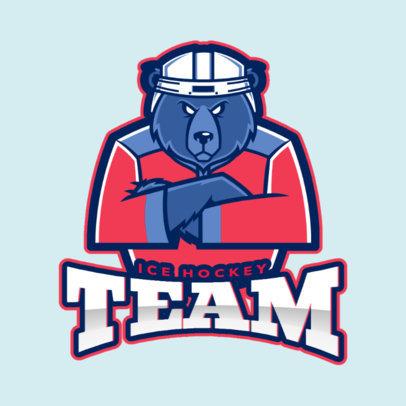 Hockey Logo Maker with a Hockey Bear Mascot Graphic 1560