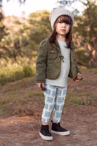 Leggings Mockup of a Little Girl on the Countryside 23930