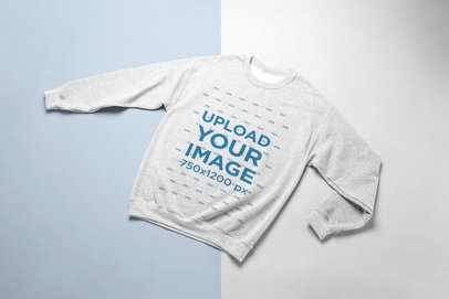 Mockup of a Heathered Crewneck Sweater with a Duo-Colored Background 24238