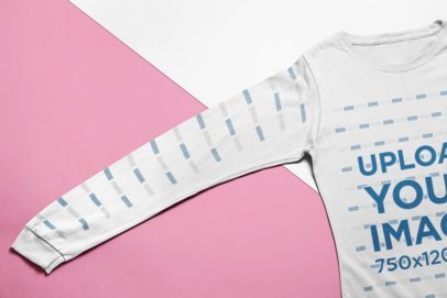Closeup Shot Mockup of a Long Sleeve Tee Over a Background with Two Colors 24255
