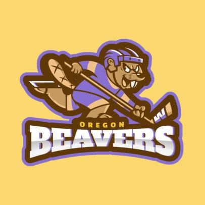 Hockey Logo Design Maker with Hockey Beaver Mascot Clipart 1560d
