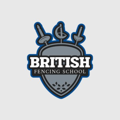 Fencing Logo Creator with Crossed Swords and Shield 1612a