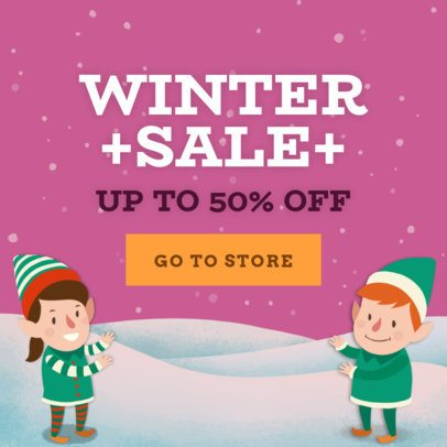 Holiday Banner Template for a Winter Sale with Christmas Illustrations 783d