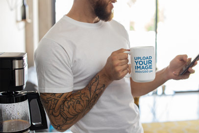 Mug Mockup of a Tattooed Man Drinking Coffee 24019