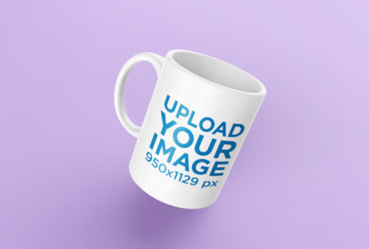 Mockup of a Rendered Mug Floating Over a Solid Surface 24487