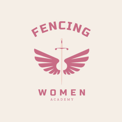 Women's Fencing Logo Design Template 1614b