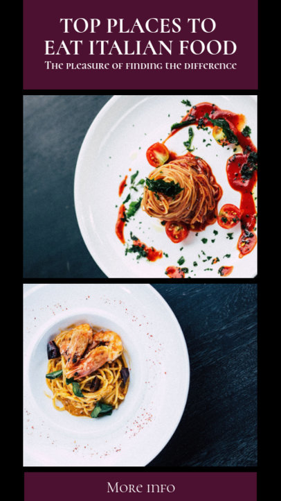 Instagram Story Maker for an Italian Food Restaurant 941d