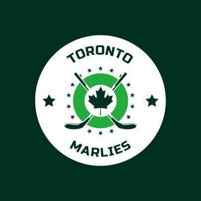 Hockey Logo Design Template with Maple Leaf Clipart 1561d