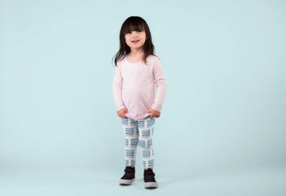 Leggings Mockup of an Amused Little Girl Photographed at a Studio 23924
