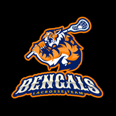 Lacrosse Logo Design Template with Tiger Clipart 1591e