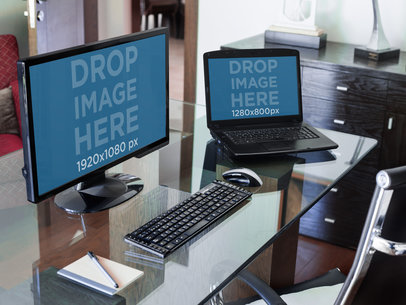 PC Desktop and Laptop Mockup at a Corporate Office a4960-std