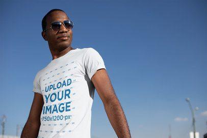 T-Shirt Mockup with a Man Striking a Pose 24065
