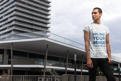 T-Shirt Mockup of a Man in the City 24531