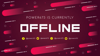Twitch Offline Banner Design Template with Red Gradients 980e