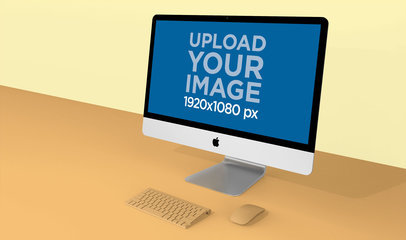 iMac mockup in the Corner of a Two Colored Background 24785