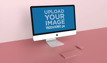 Mockup of an iMac Against the Corner of a Bicolor Background 24786