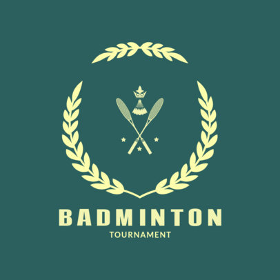 Badminton Logo Design Template with a Badminton Racket Clipart 1632b