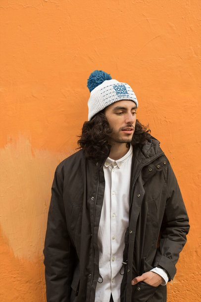 Beanie Mockup Featuring a Man Wearing a Winter Jacket 24593