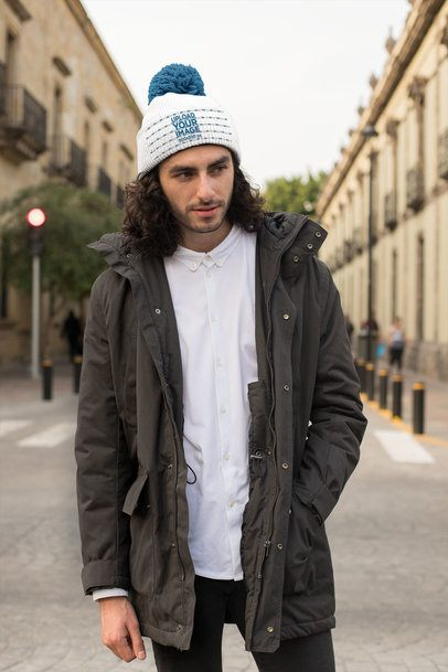 Mockup of a Man Wearing a Street Style Outfit with a Beanie 24612