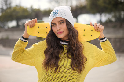 Beanie Mockup of a Gorgeous Skater Girl 24617