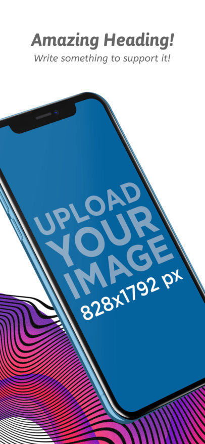 iOS Screenshot Generator of an iPhone XR in Portrait Position over a Custom Background 25262