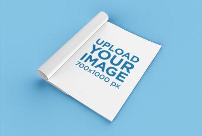 Mockup of a Folded Magazine on a Flat Surface 25077