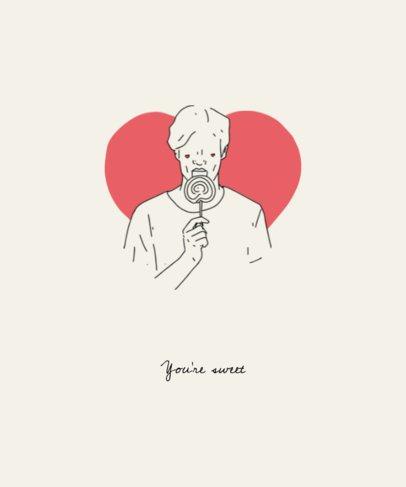 Cute Valentine's Day T-Shirt Design Template 1038d