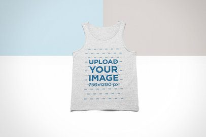 Flat Lay Mockup of a Heathered Tank Top over a Custom Background 24768