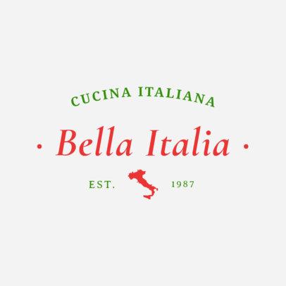 Minimalistic Italian Food Restaurant Logo Design Template 1660b