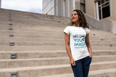 Urban Mockup Featuring a Beautiful Girl Wearing a T-Shirt on a Stairway 24659