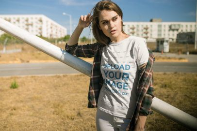 T-Shirt Mockup Featuring a Trendy Woman Wearing a Flannel Tee 20079