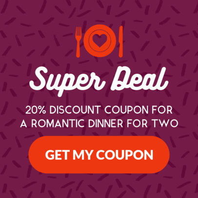 Banner Maker for a Valentine's Day Restaurant Coupon 1048c