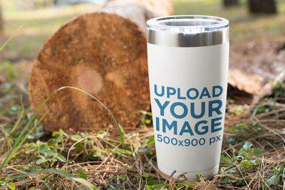 Mockup of a Travel Mug Outdoors 24384