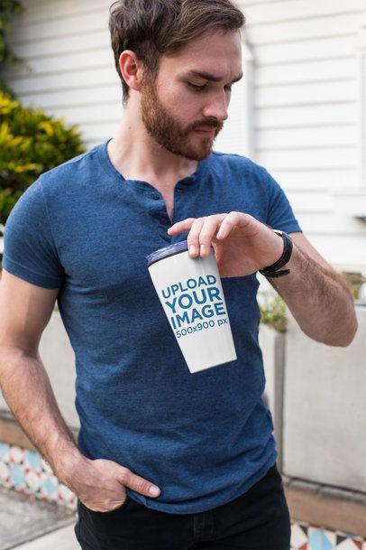 Travel Mug Mockup Featuring a Man Looking at His Watch 24402