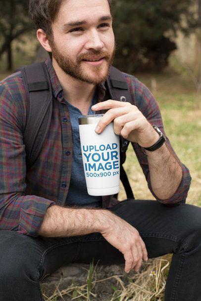 Travel Mug Mockup of a Man Outdoors 24387