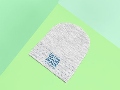 Mockup of a Heathered Beanie Lying on a Flat Surface 25178