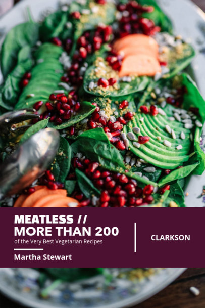 Cookbook Cover Template for a Meatless Recipe Book 908a