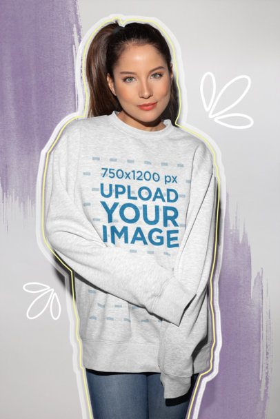 Mockup of a Woman Wearing a Sweatshirt Surrounded by Colorful Illustrations 18658