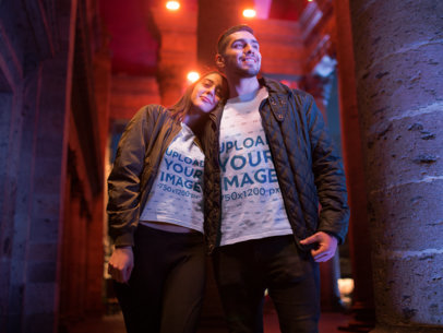 T-Shirt Mockup Featuring a Couple Going Out for Valentine's 19015