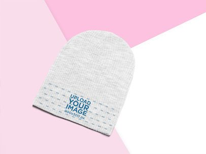 Angled View Mockup of a Heathered Beanie 24747