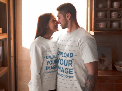 T-Shirt and Sweater Mockup of a Couple in Valentine's Day 19008
